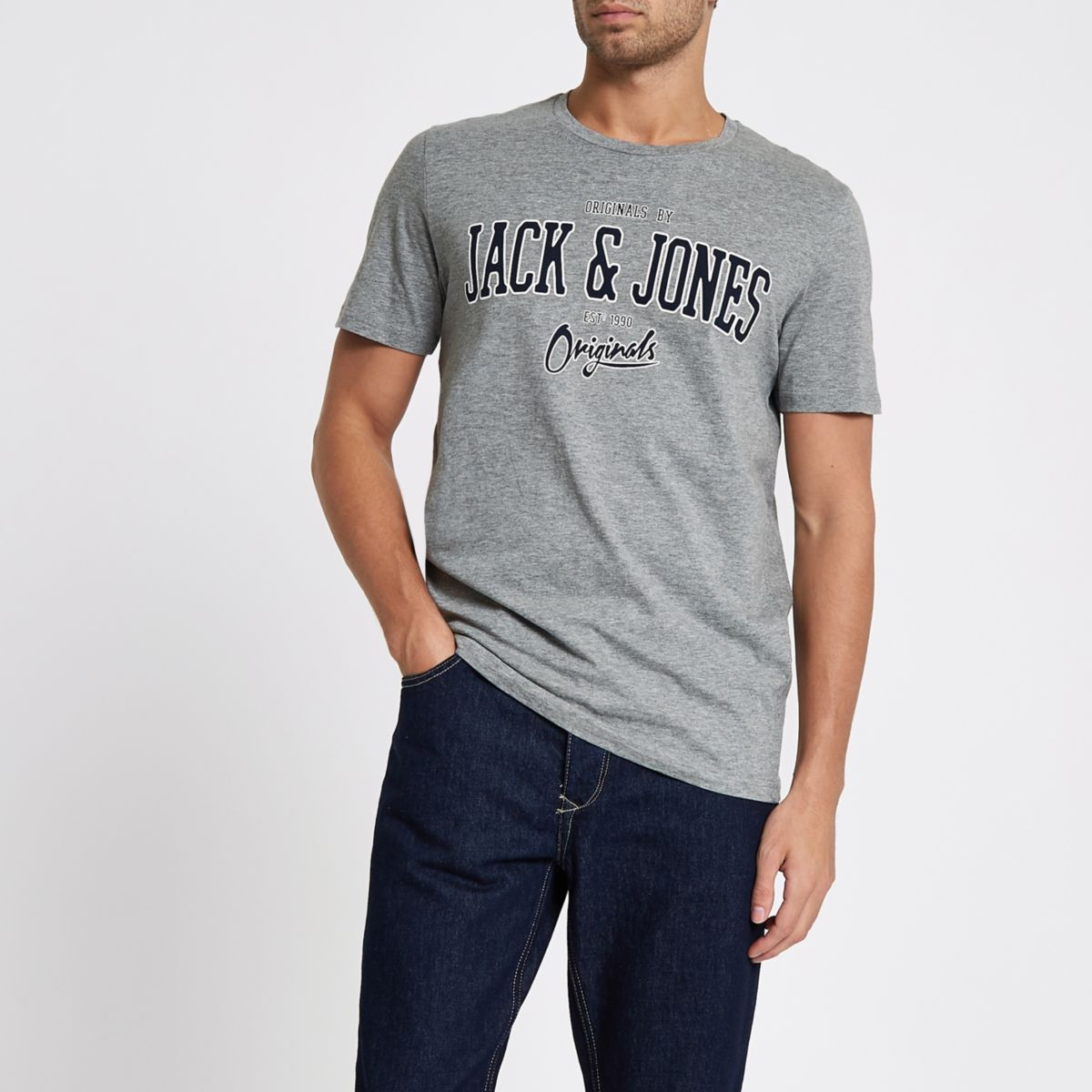 Jack & Jones Originals grey print T-shirt