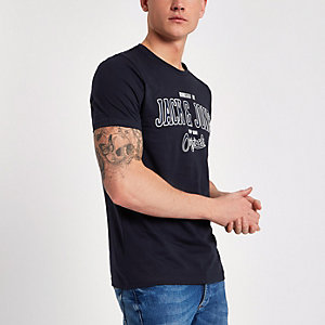 Jack & Jones - Marineblauw T-shirt met print