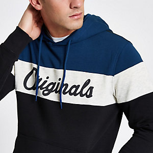 Jack & Jones Originals - Sweat à capuche colour block bleu