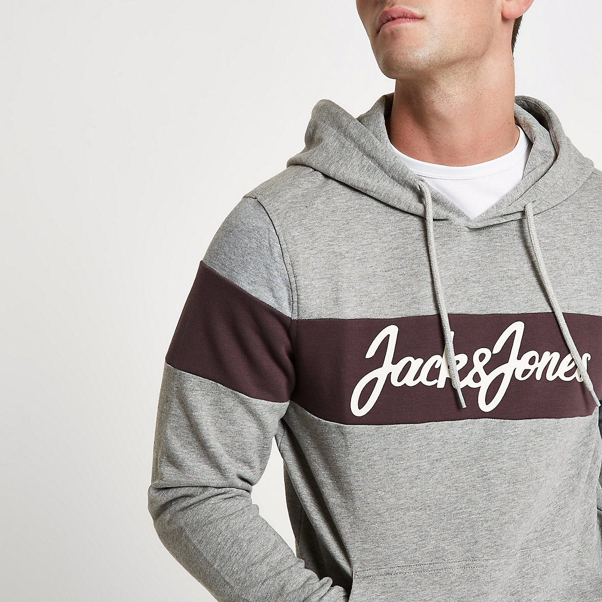 Jack & Jones Originals grey block hoodie