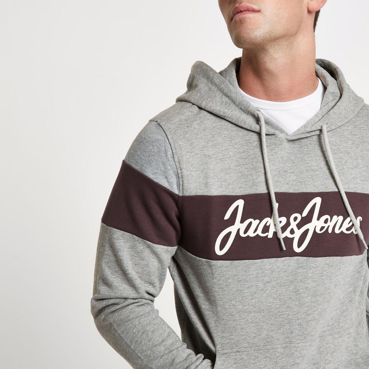 River Island Jack & Jones - Sweat à capuche Originals colour block