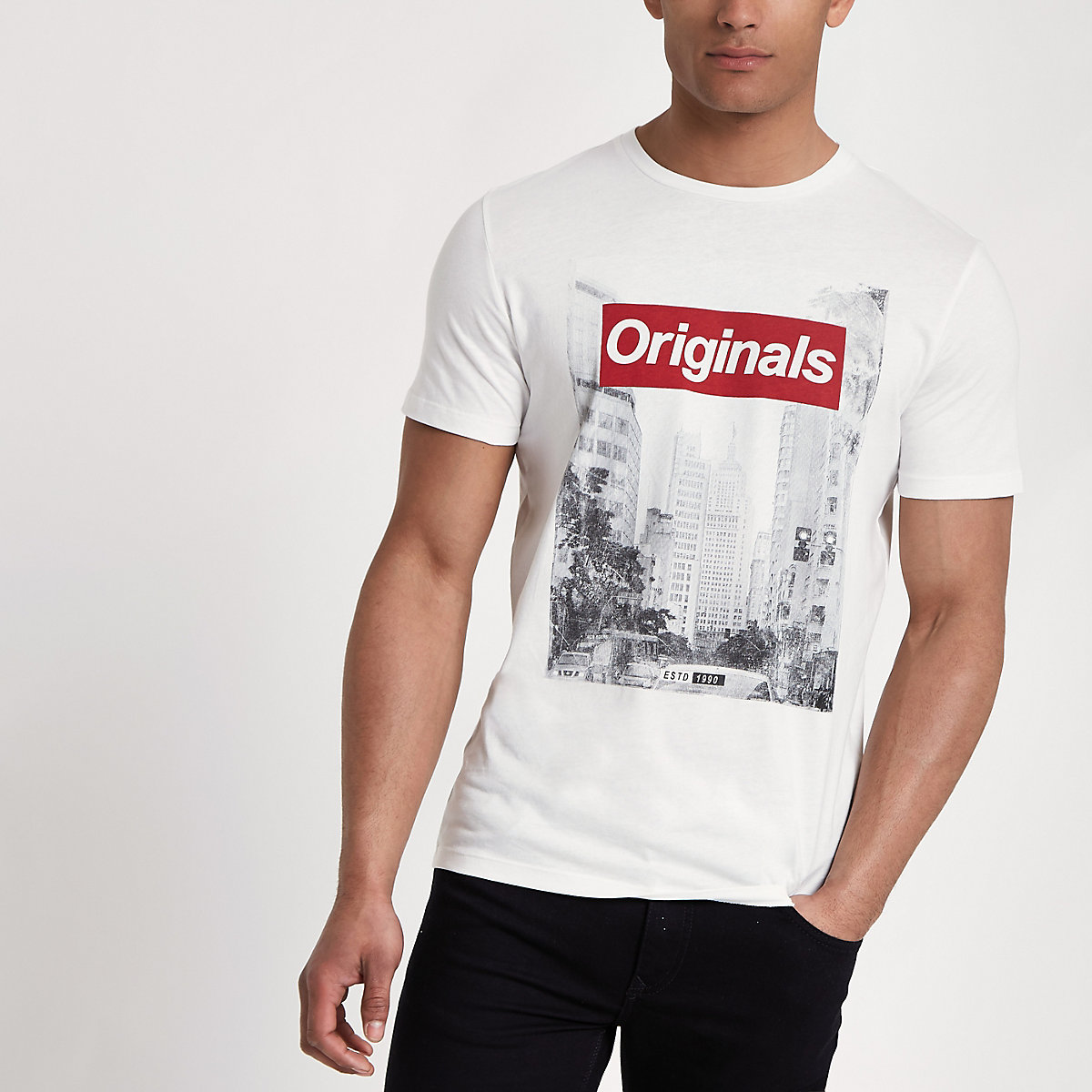 Jack & Jones Originals white photo T-shirt
