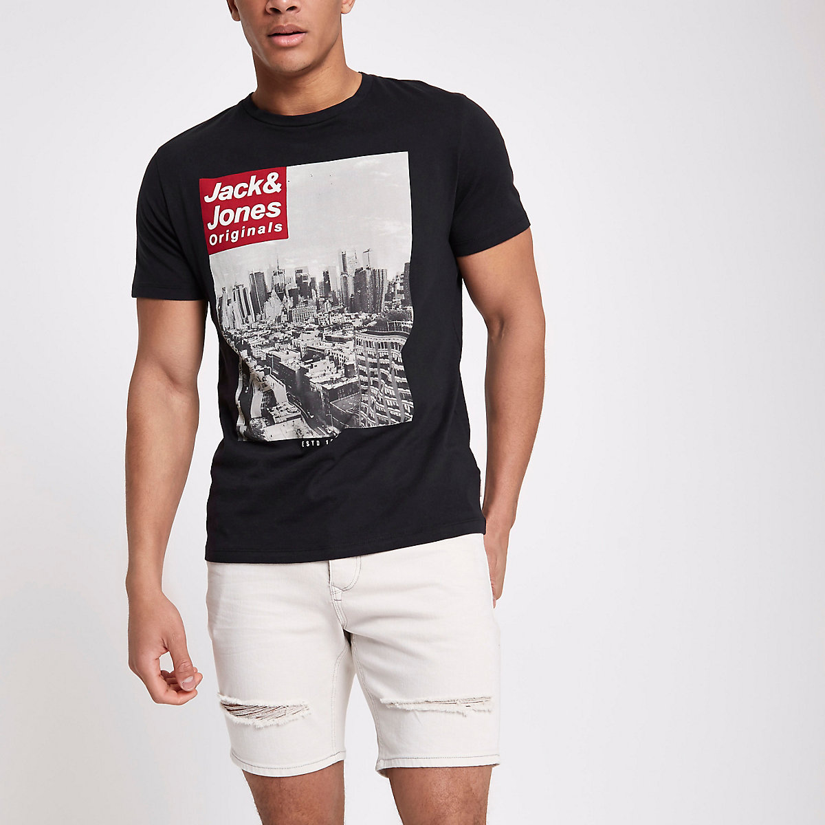 Jack & Jones Originals black photo T-shirt