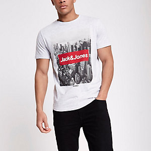 Jack & Jones Originals grey photo T-shirt