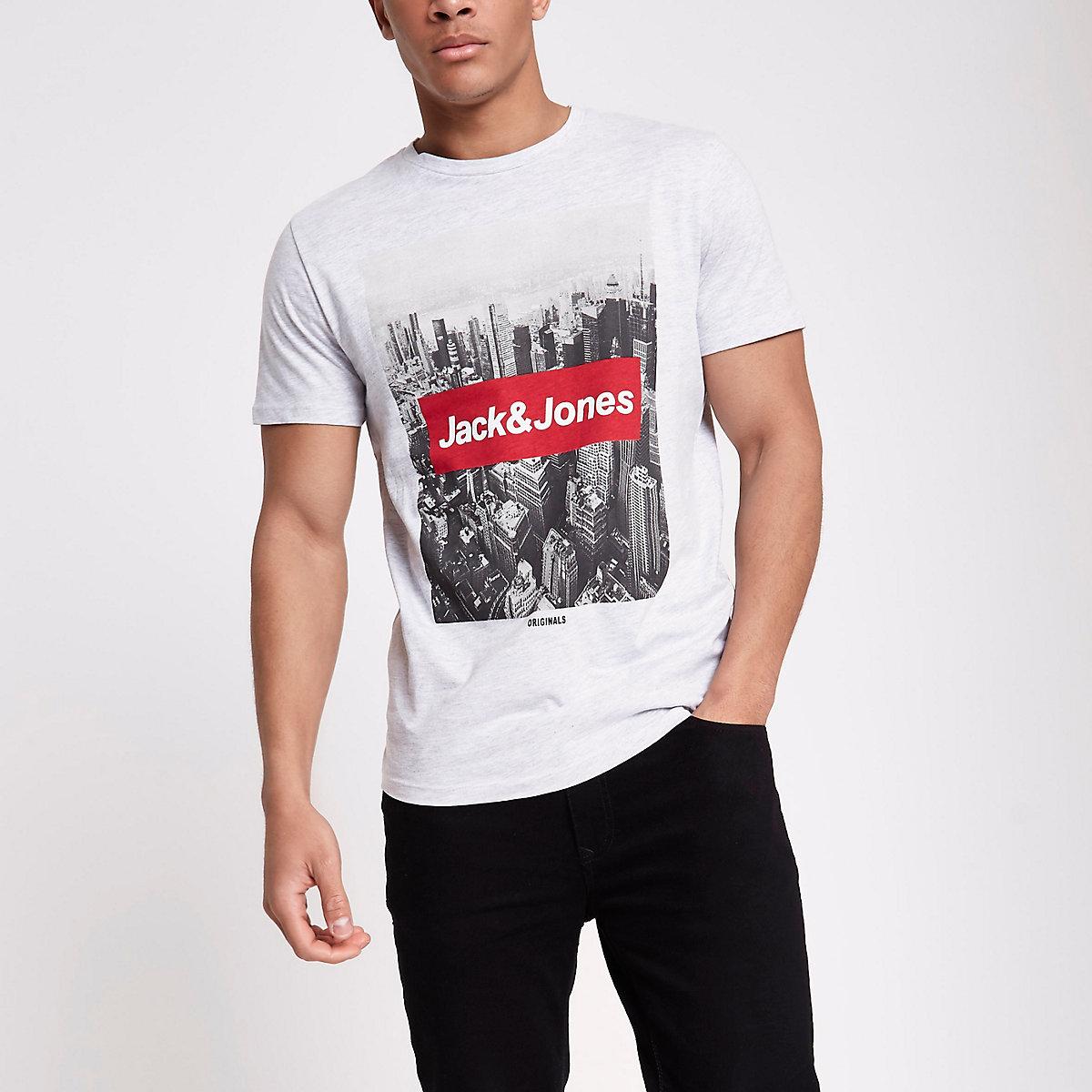 Jack & Jones Originals grey photo T-shirt