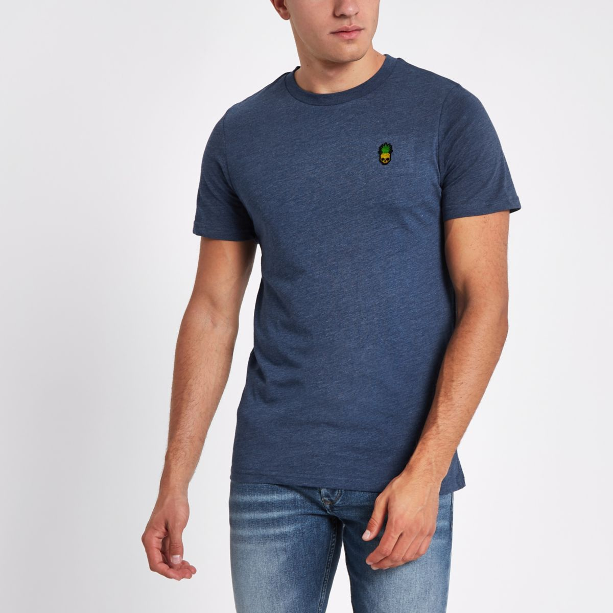 Jack & Jones Originals blue crew neck T-shirt