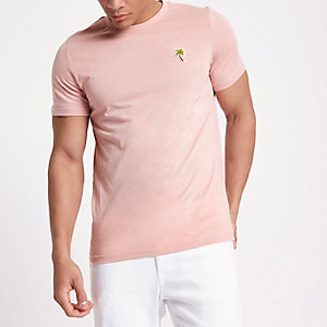 Jack & Jones – Pinkes T-Shirt mit Palmenstickerei