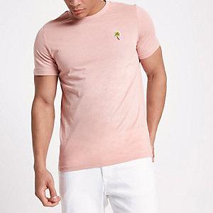 Jack & Jones - Roze T-shirt met geborduurde palmboom