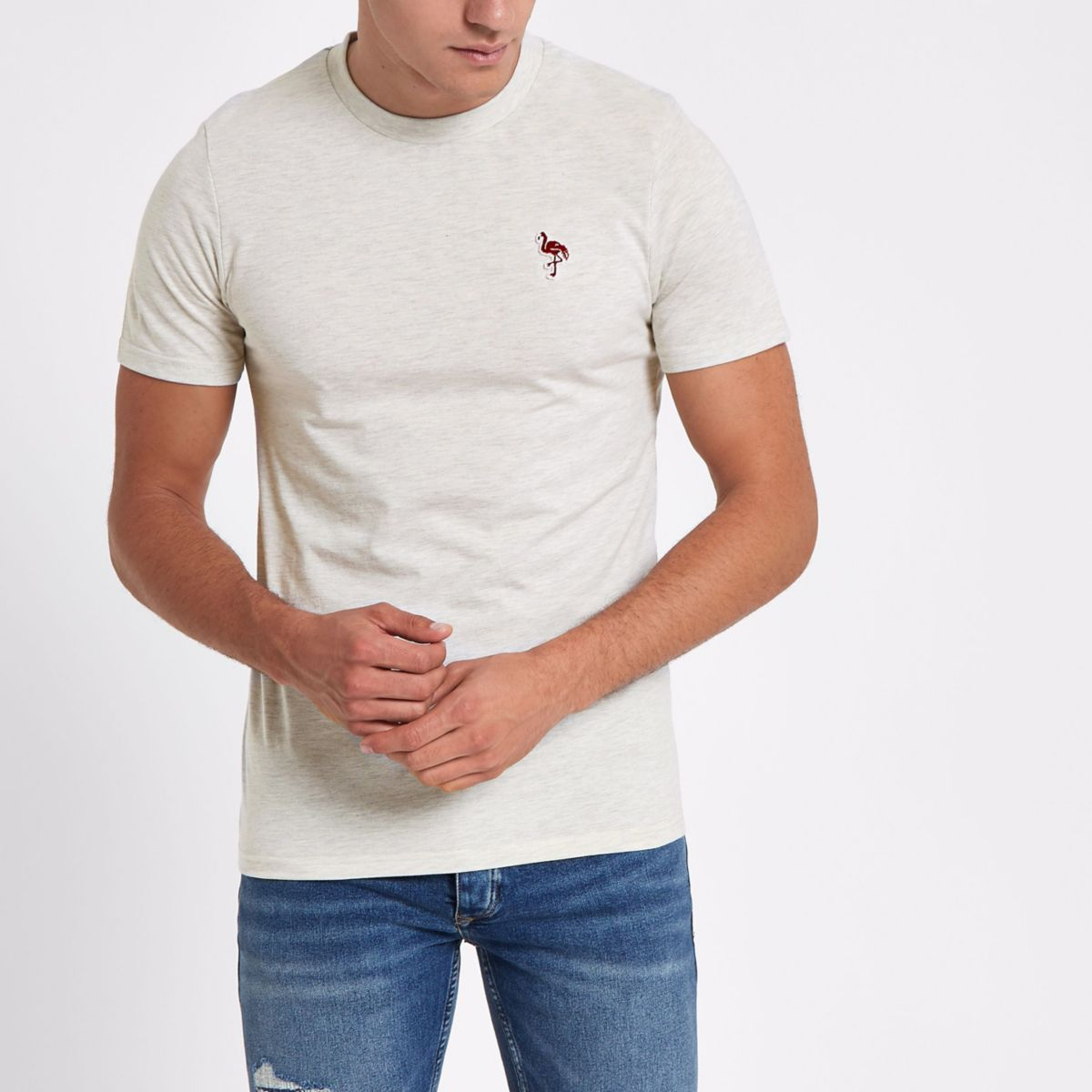 Jack & Jones white embroidered T-shirt