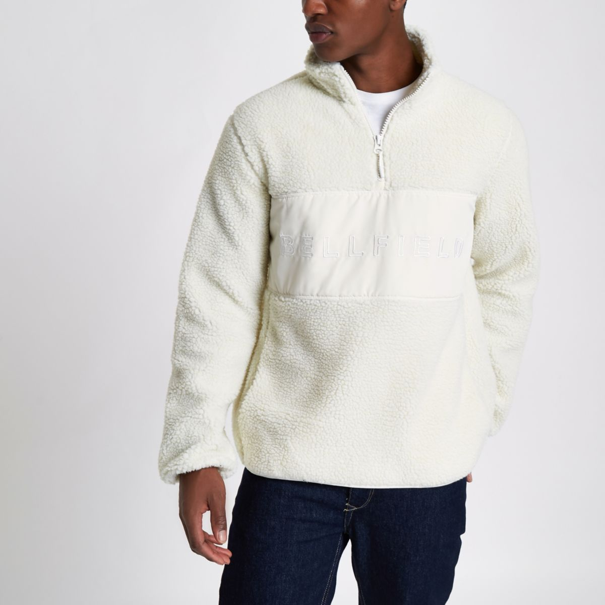 Bellfield cream pullover fleece jacket