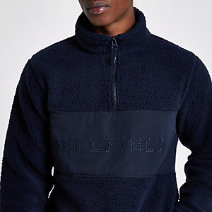 Bellfield navy pullover fleece jacket