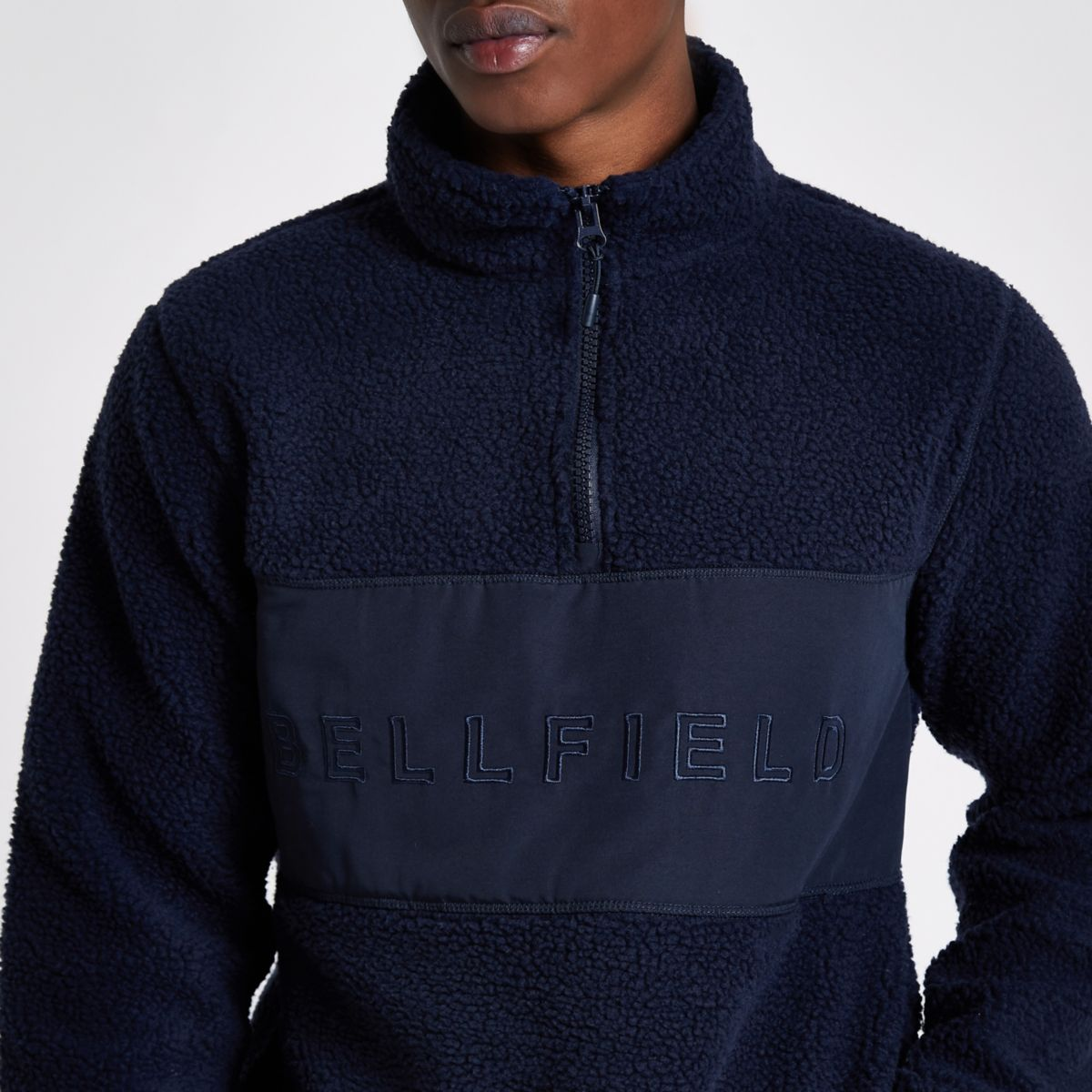 Navy Bellfield pullover fleece jacket