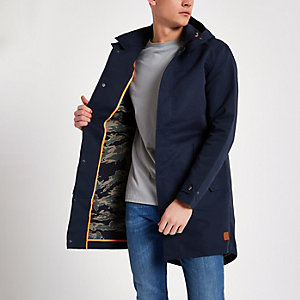 Navy Jack & Jones long parka jacket