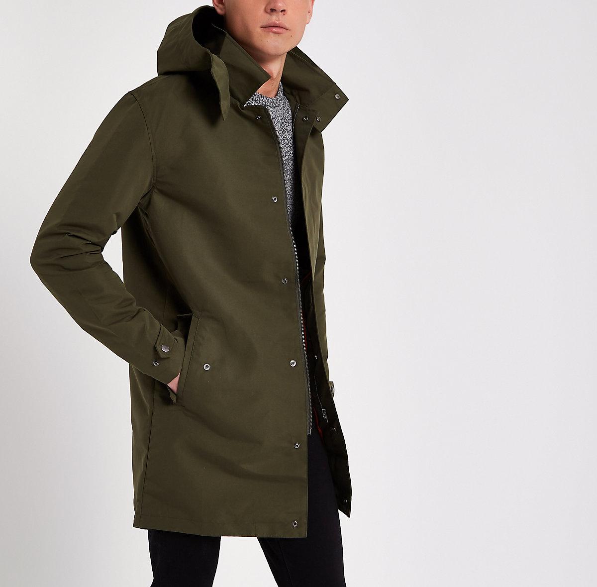 Jack & Jones dark green long parka jacket