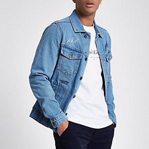 "Jack & Jones – Blaue Jeansjacke ""Not today"""