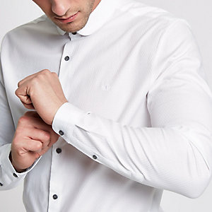 White tailored fit penny collar shirt