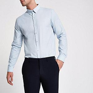 Lichtblauw tailored overhemd met textuur