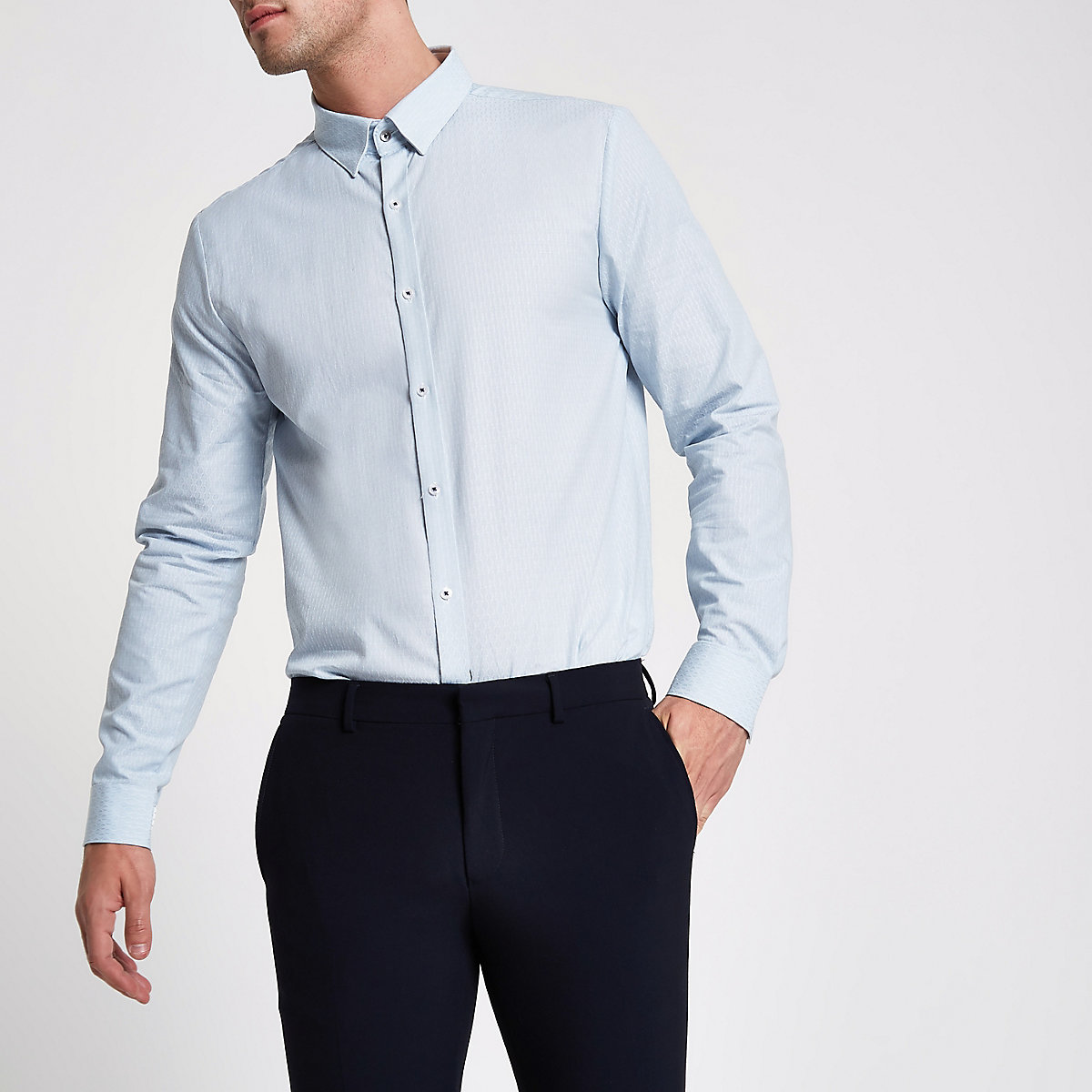Light Blue Textured Tailored Fit Shirt Long Sleeve Shirts Shirts