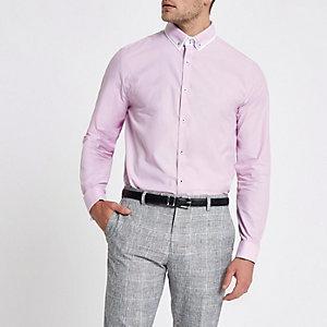 Chemise ajustée rose à col double