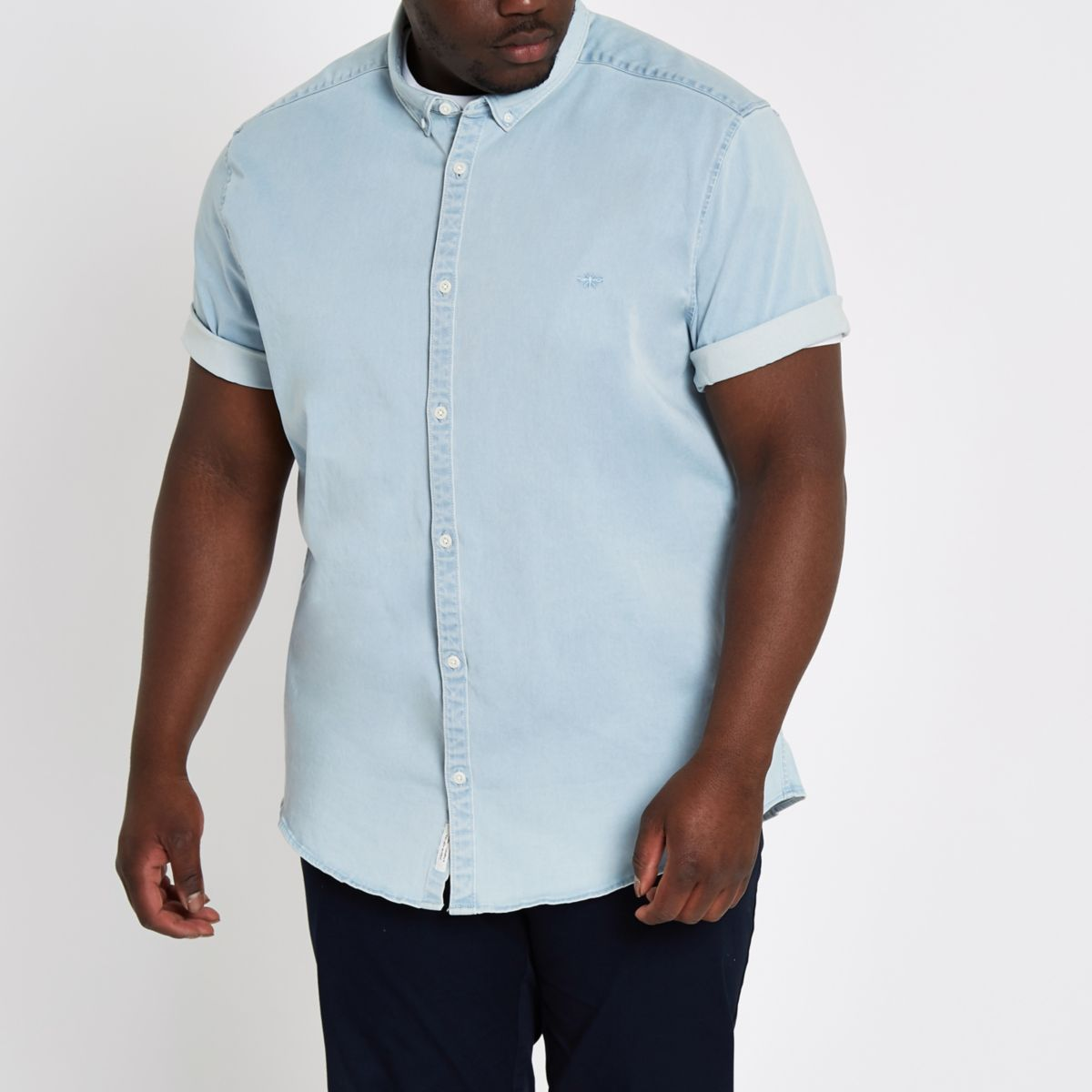 Big and Tall light blue denim shirt