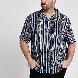 Big and Tall - Blauw overhemd met reverskraag en aztekenprint