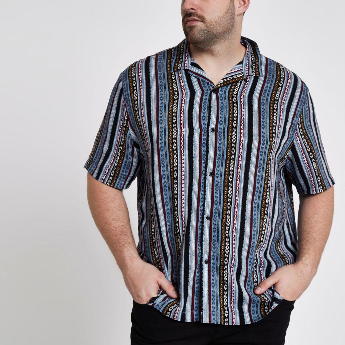 Big and Tall – Chemise bleue imprimé aztèque à col à revers