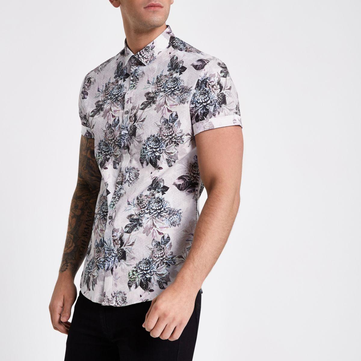 Ecru floral short sleeve shirt