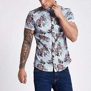Chemise à fleurs bleu clair à manches courtes