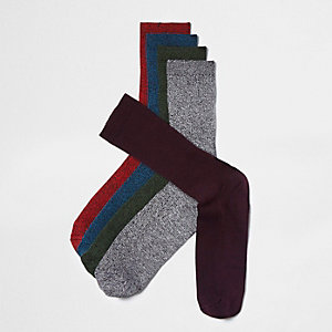 Red twist rib socks multipack