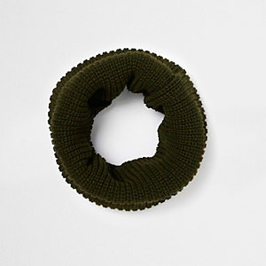 Khaki knit snood