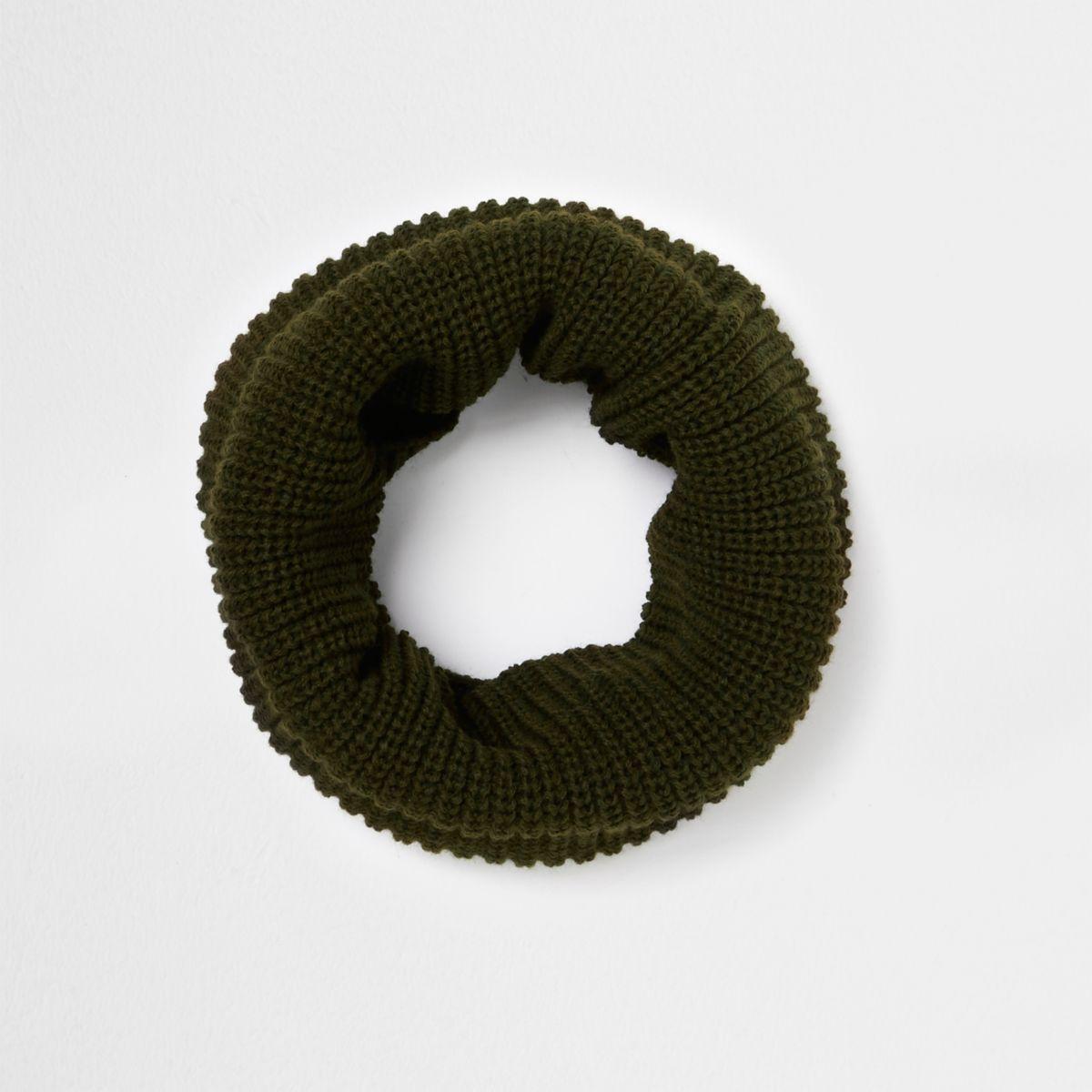 Khaki knit snood