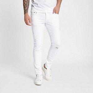 Eddy - Witte skinny jeans met scheur op de knie