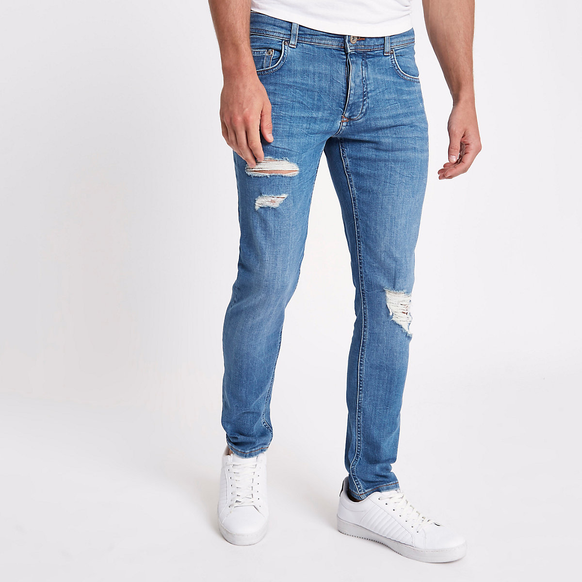 Mid blue Eddy skinny ripped jeans