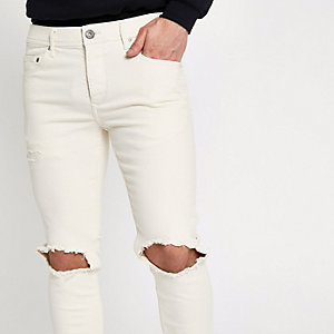 Cream Sid ripped Skinny jeans