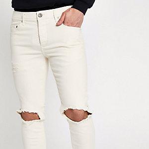 Sid - Crème ripped skinny jeans
