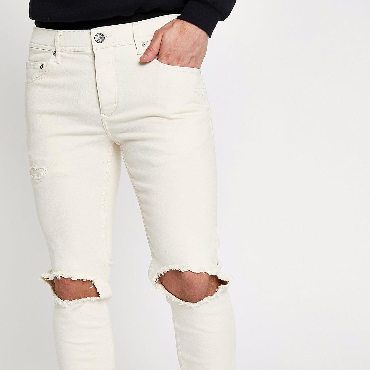 Cream Sid ripped Skinny jeans