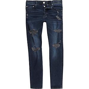 Dark blue Side distressed skinny jeans