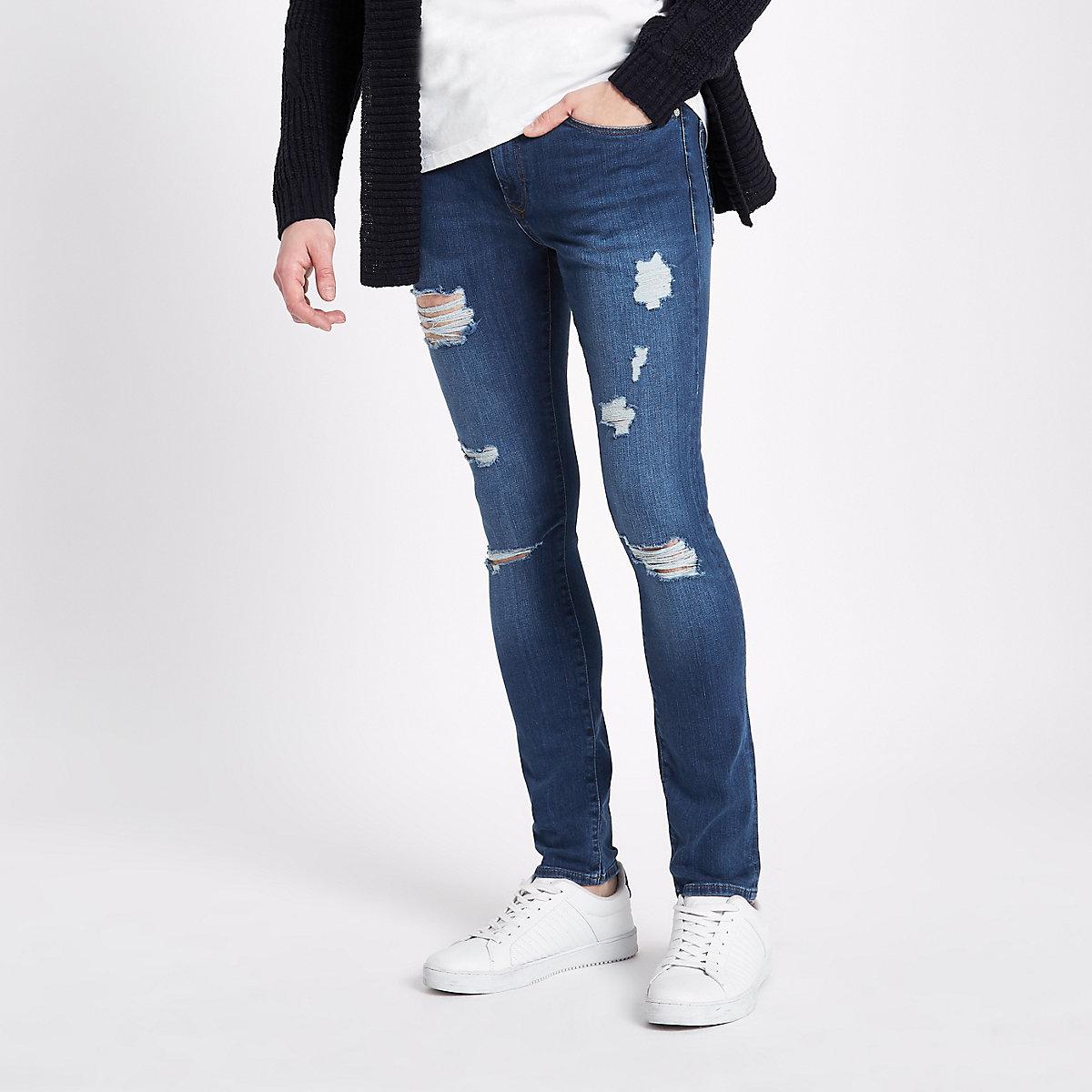 Danny – Blaue Super Skinny Jeans im Used Look