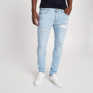 Danny - Lichtblauwe superskinny ripped jeans