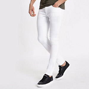 Danny - Witte superskinny stretchjeans
