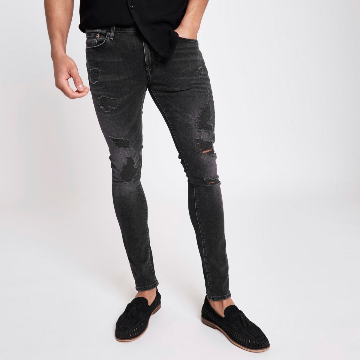 Black wash Jerry ripped super skinny jeans