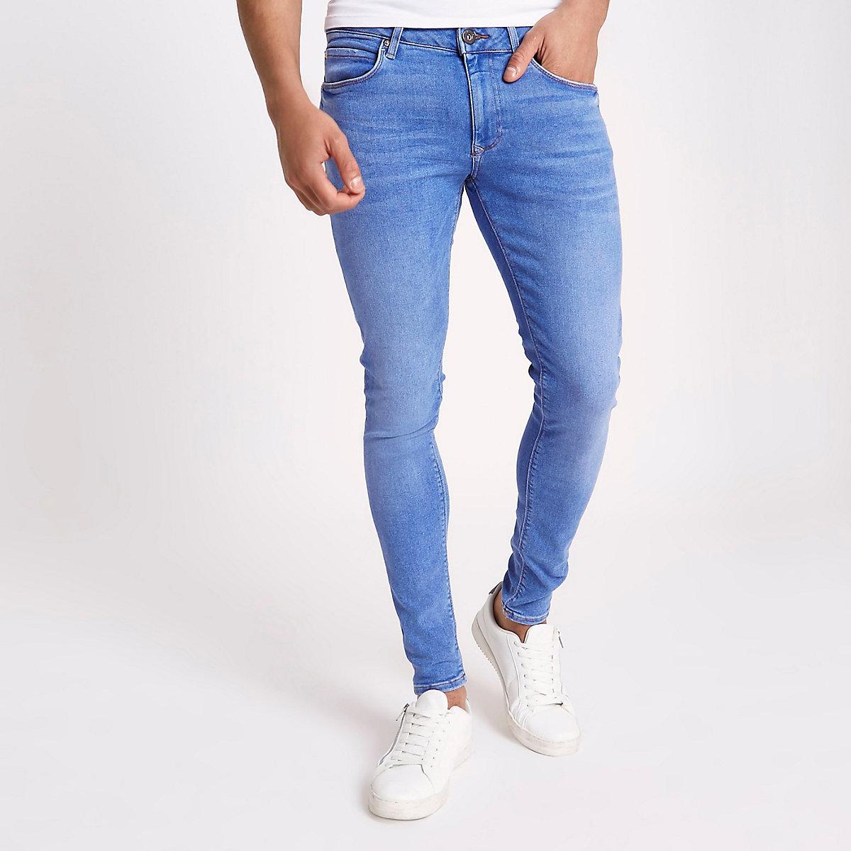 Mid blue Ollie spray on super skinny jeans