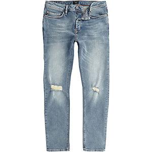 Seth – Mittelblaue Slim Fit Jeans im Used Look