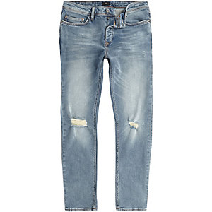 Mid blue Seth ripped knee slim fit jeans