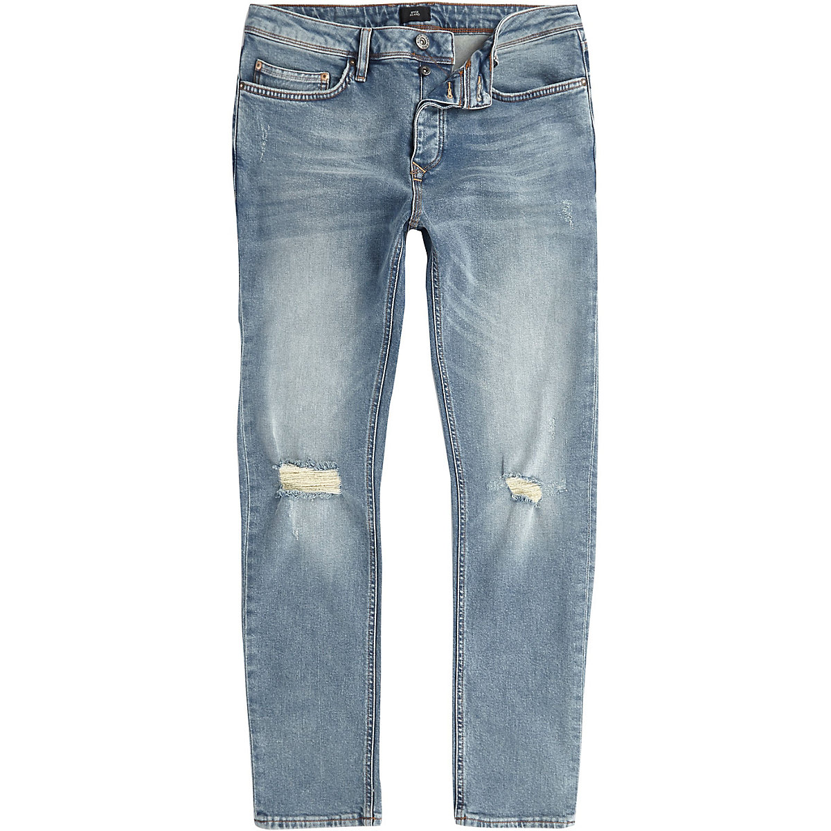 Mid blue Seth ripped knee slim fit jeans