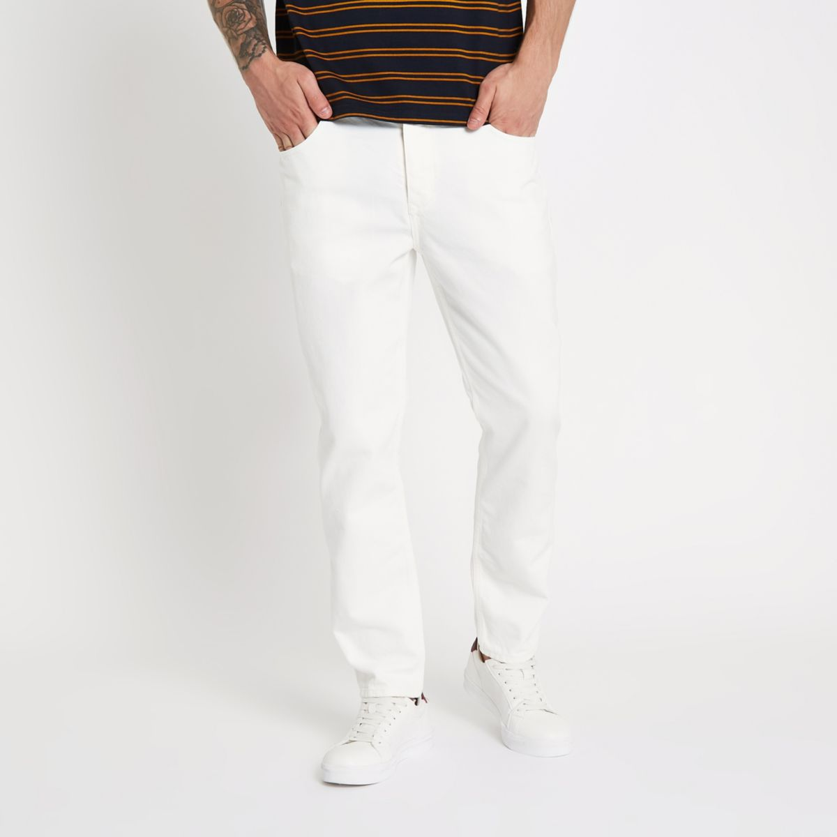White Jimmy slim fit tapered jeans