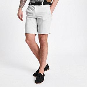 Short chino slim gris à ceinture