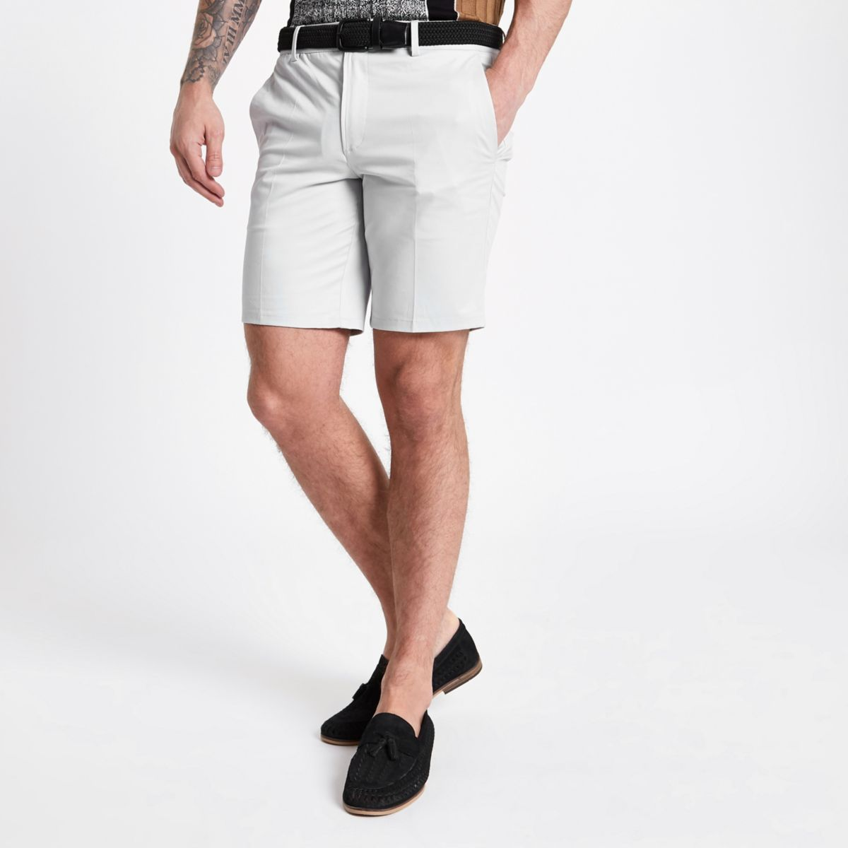 Grey slim fit belted chino shorts