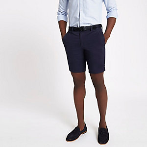 Short chino slim bleu marine à ceinture