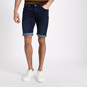 Dark blue skinny fit denim shorts